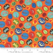 Jurassic Jamboree by Abi Hall - 4889 - Fossil Medallions on Bright Orange - 35293 17 - Cotton Fabric